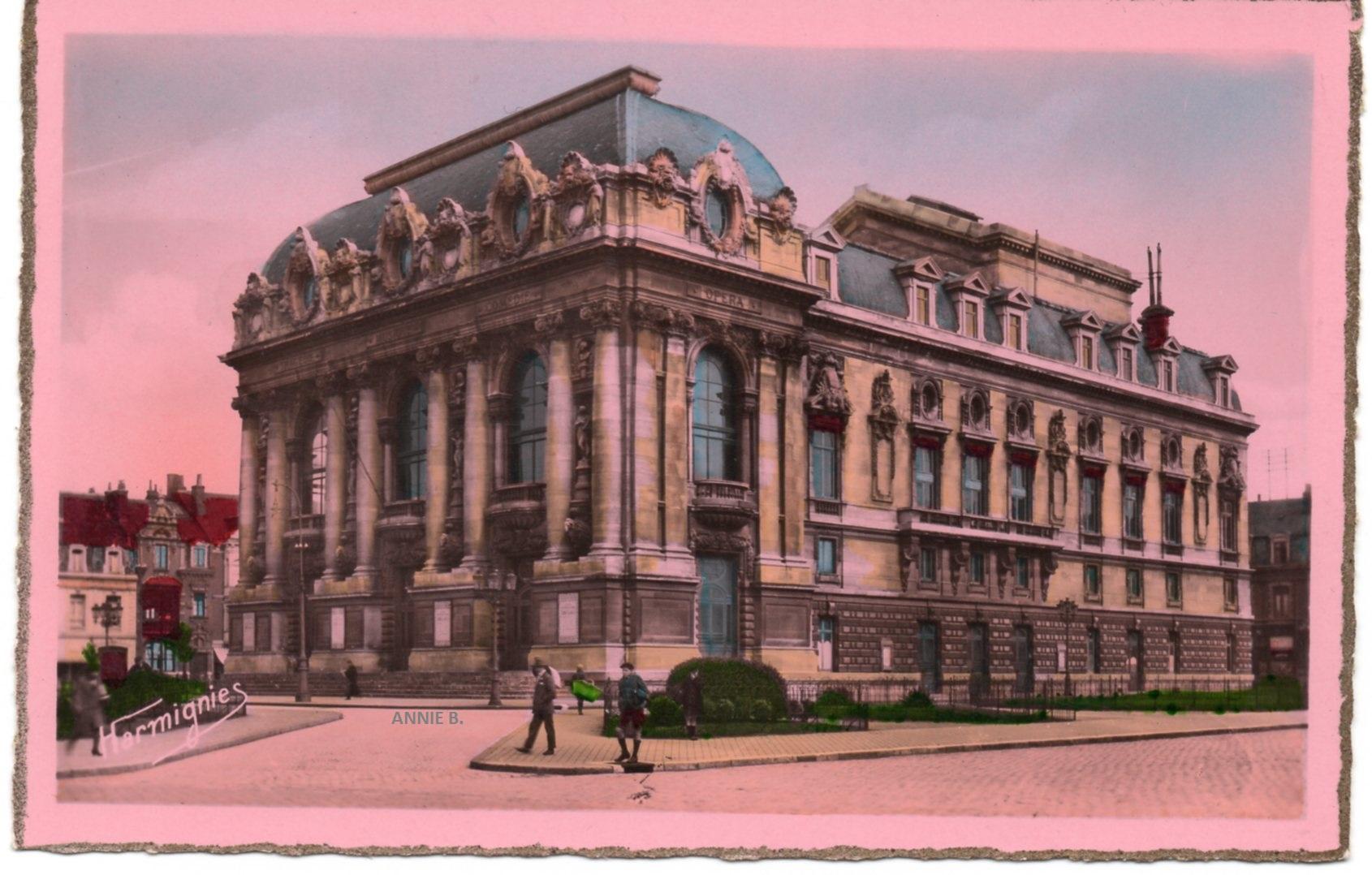 Carte postale rétro du théâtre de Calais