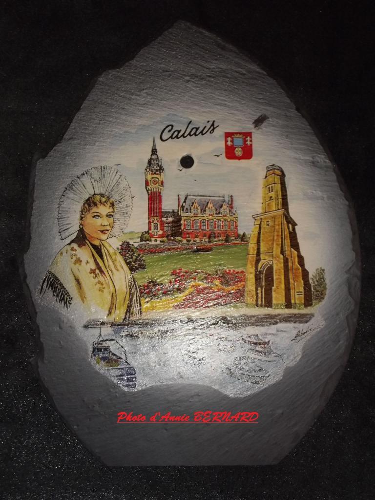 Représentation de Calais sur une ardoise