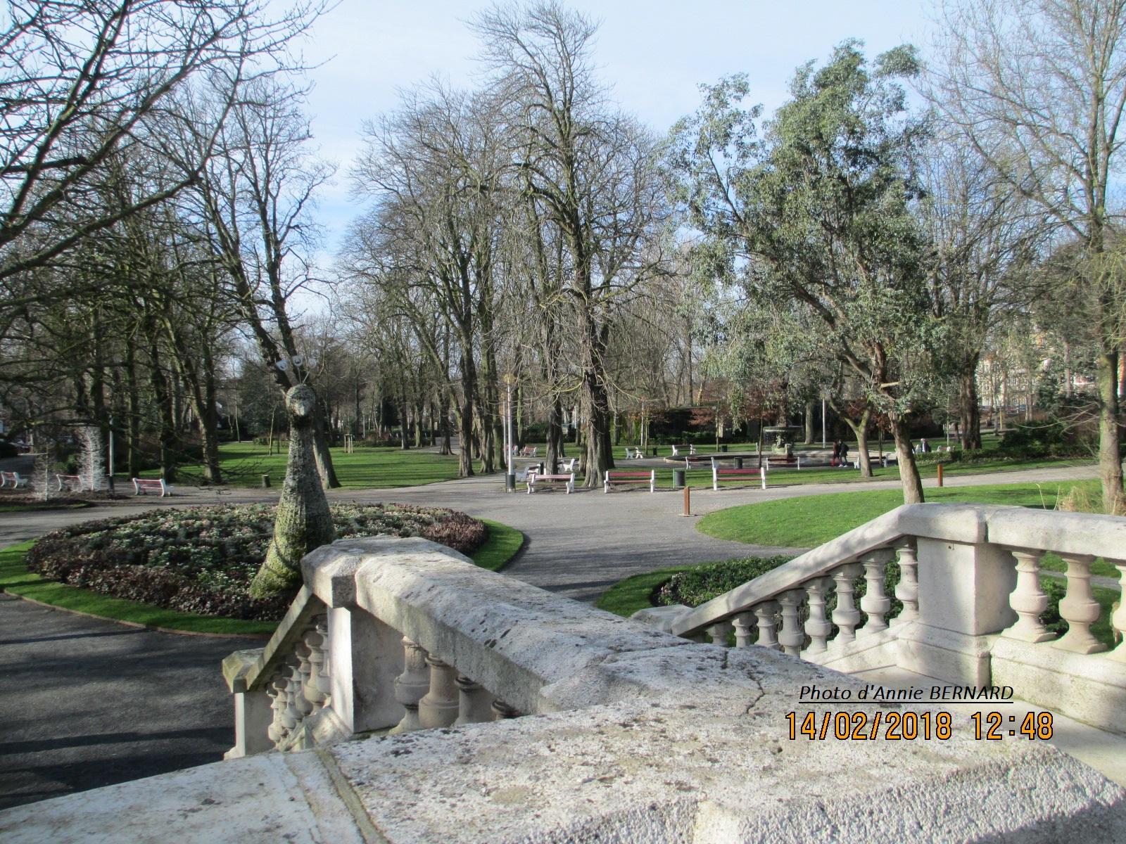 Escalier descendant dans le parc