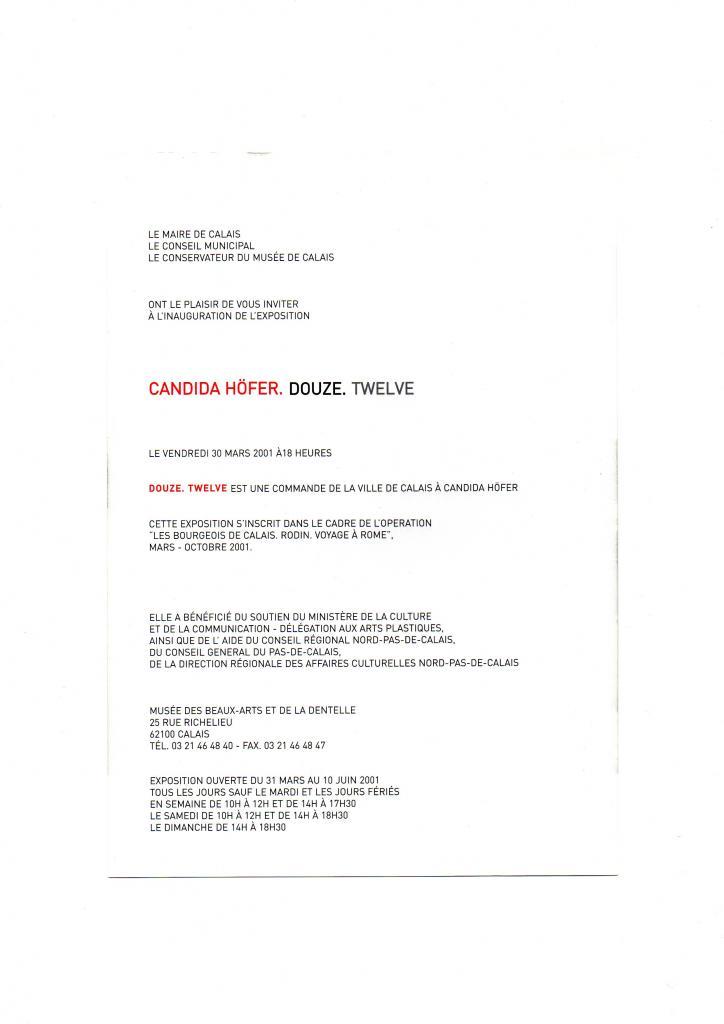 Invitation pour l'exposition de Candida Höfer en 2001