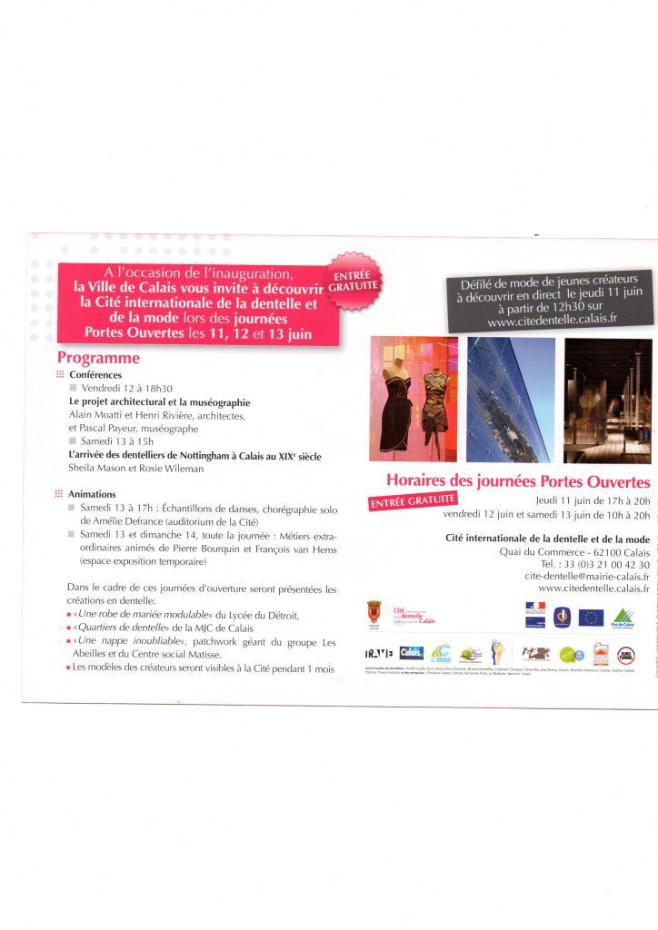 Programme de la Cité de la Dentelle de Calais