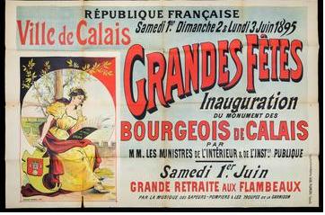 Pub pour l'inauguration de la statue des Six Bourgeois de Calais en juin 1895