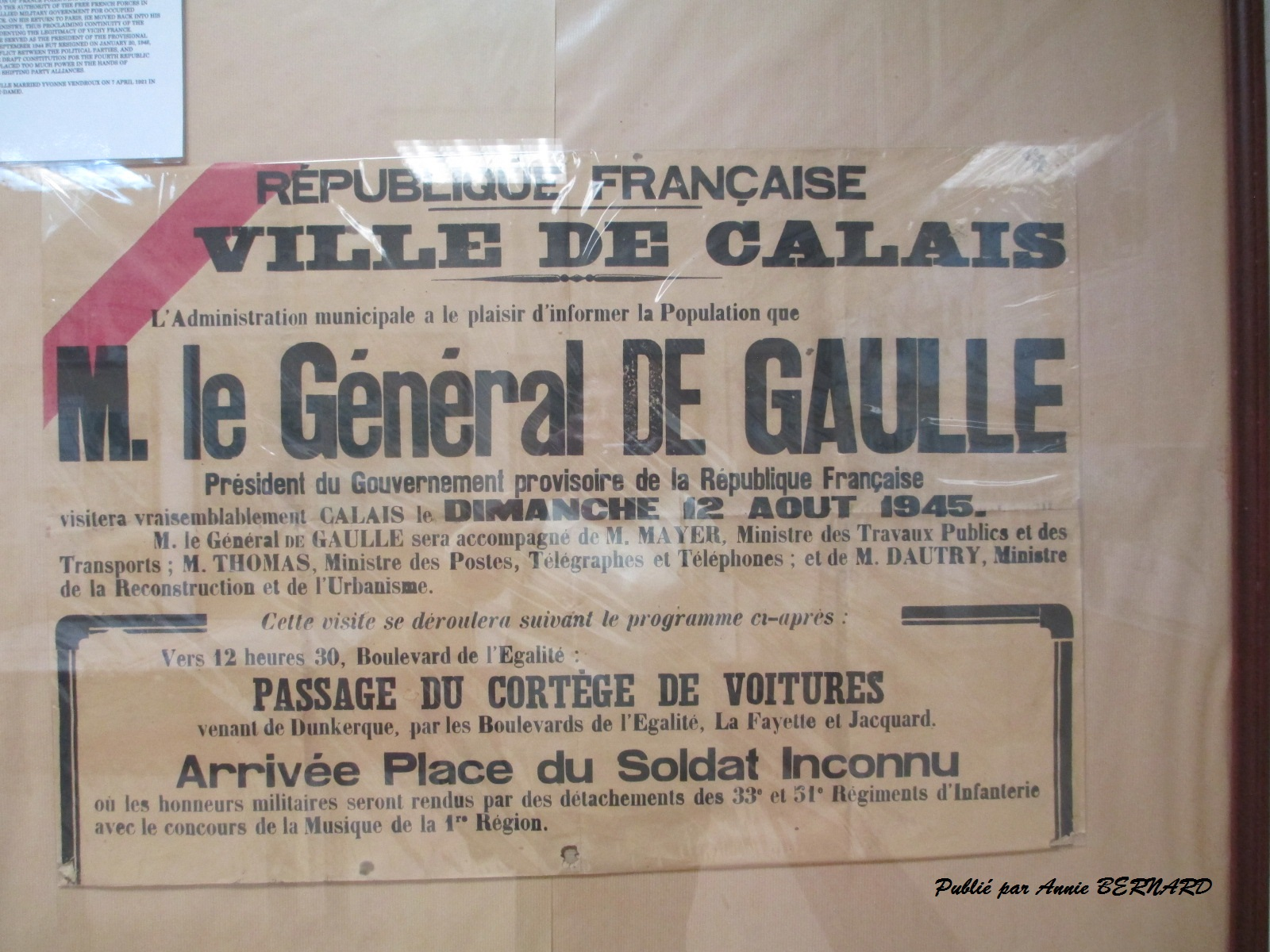 Avis publié par la ville de Calais