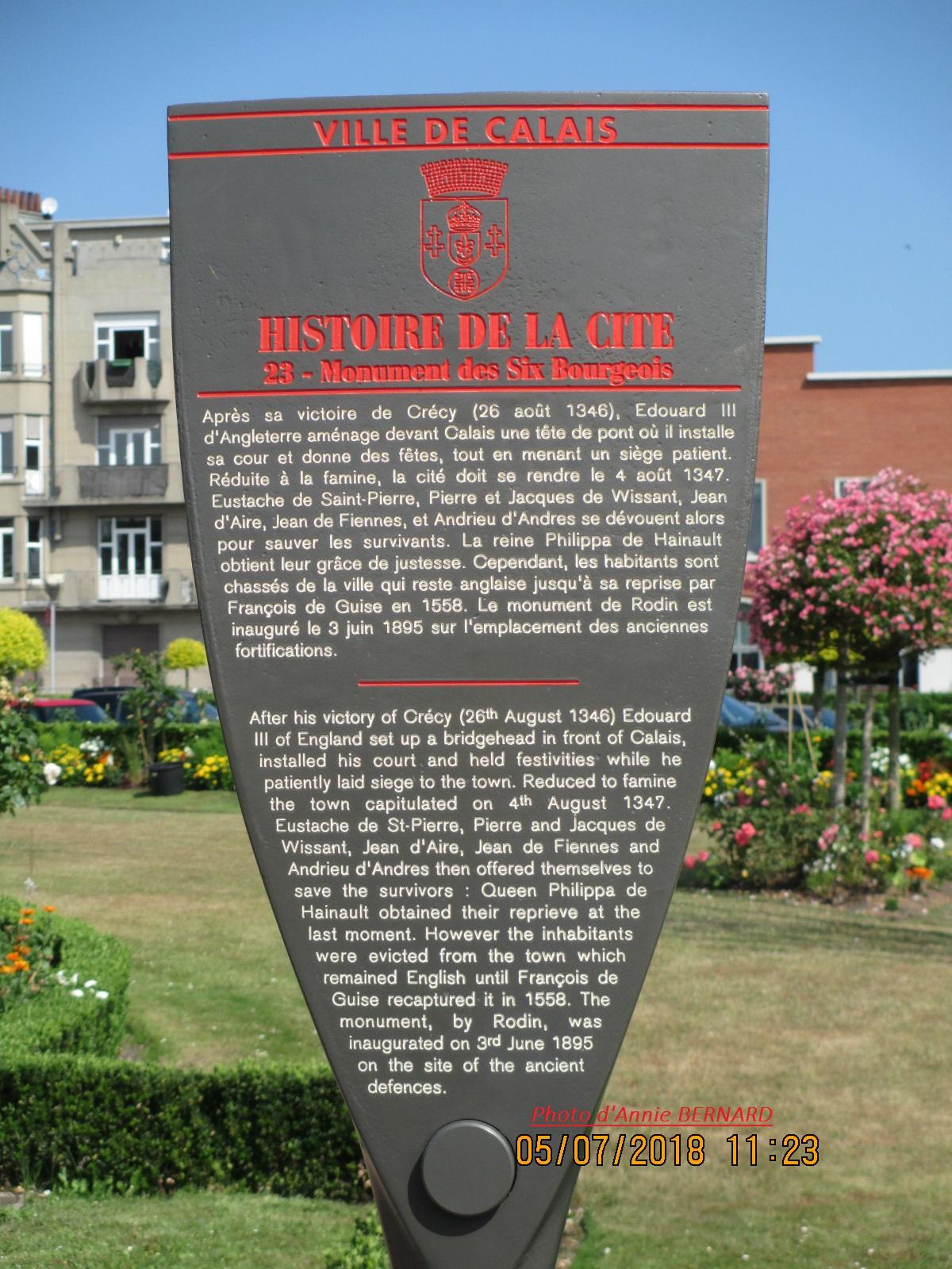 Infos sur les Six Bourgeois de Calais