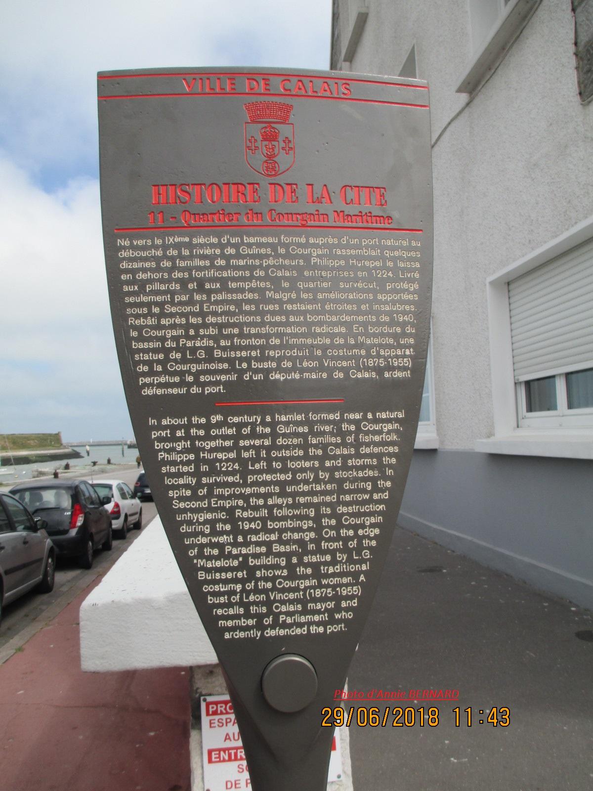Panneau d'informations sur Le Courgain Maritime de Calais