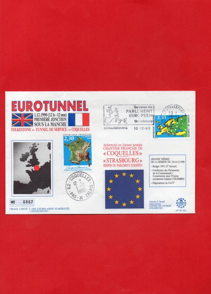 Première jonction pour le Tunnel sous la Manche le 1-12-1990 à 12h12mn