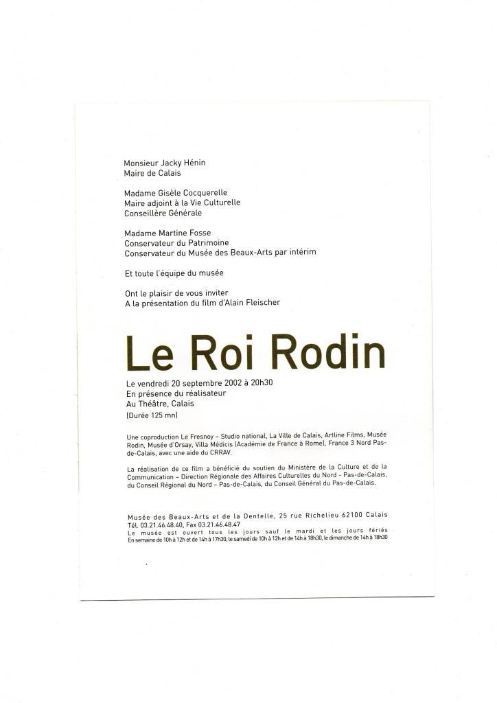 Le Roi Rodin en 2002, film de Alain Fleischer