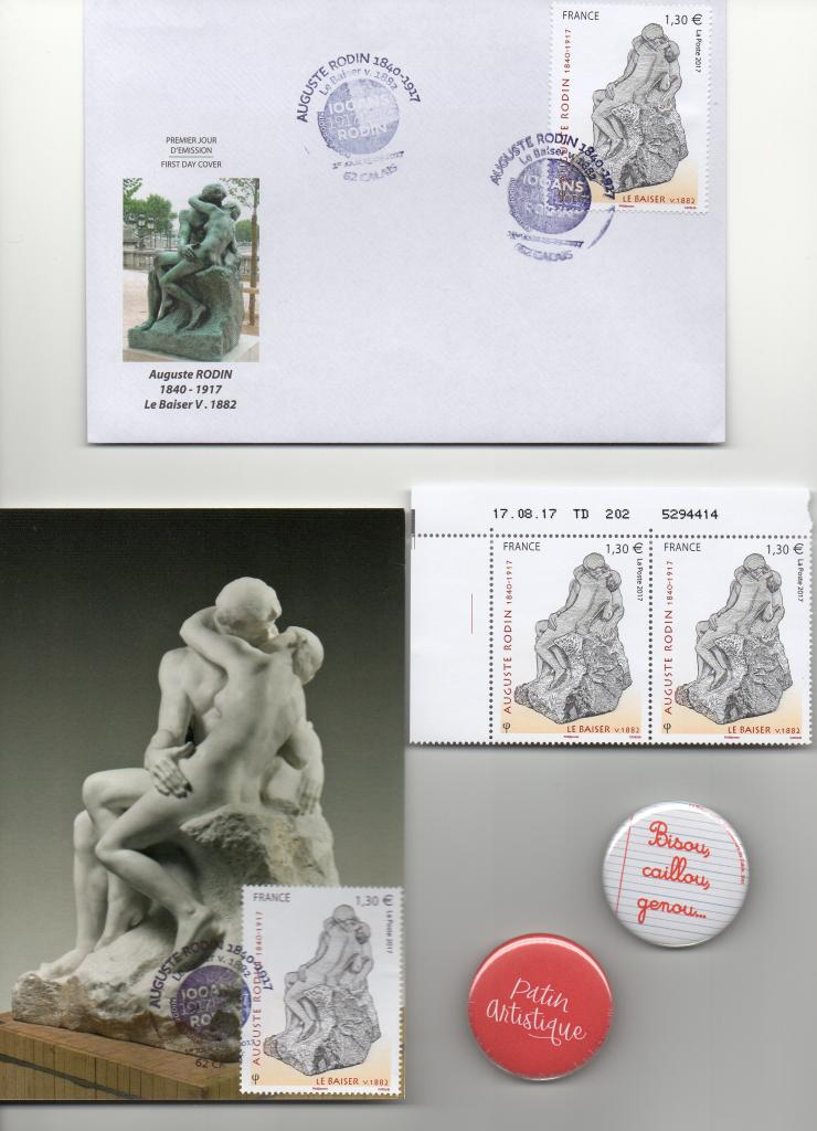 """Aujourd'hui, 15/09/17 vente du timbre """"Le Baiser"""" de Rodin"""