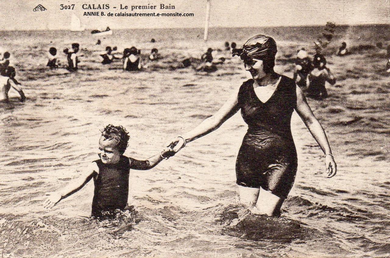 Bain en 1926 à la plage de Calais