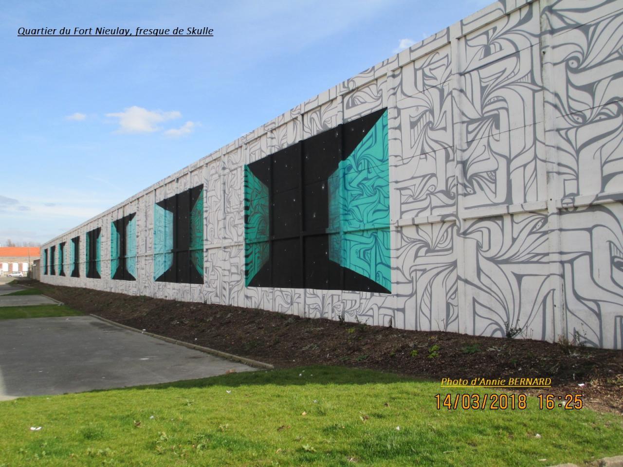 Quartier du Fort Nieulay, fresque de Skulle et Astro de 2017