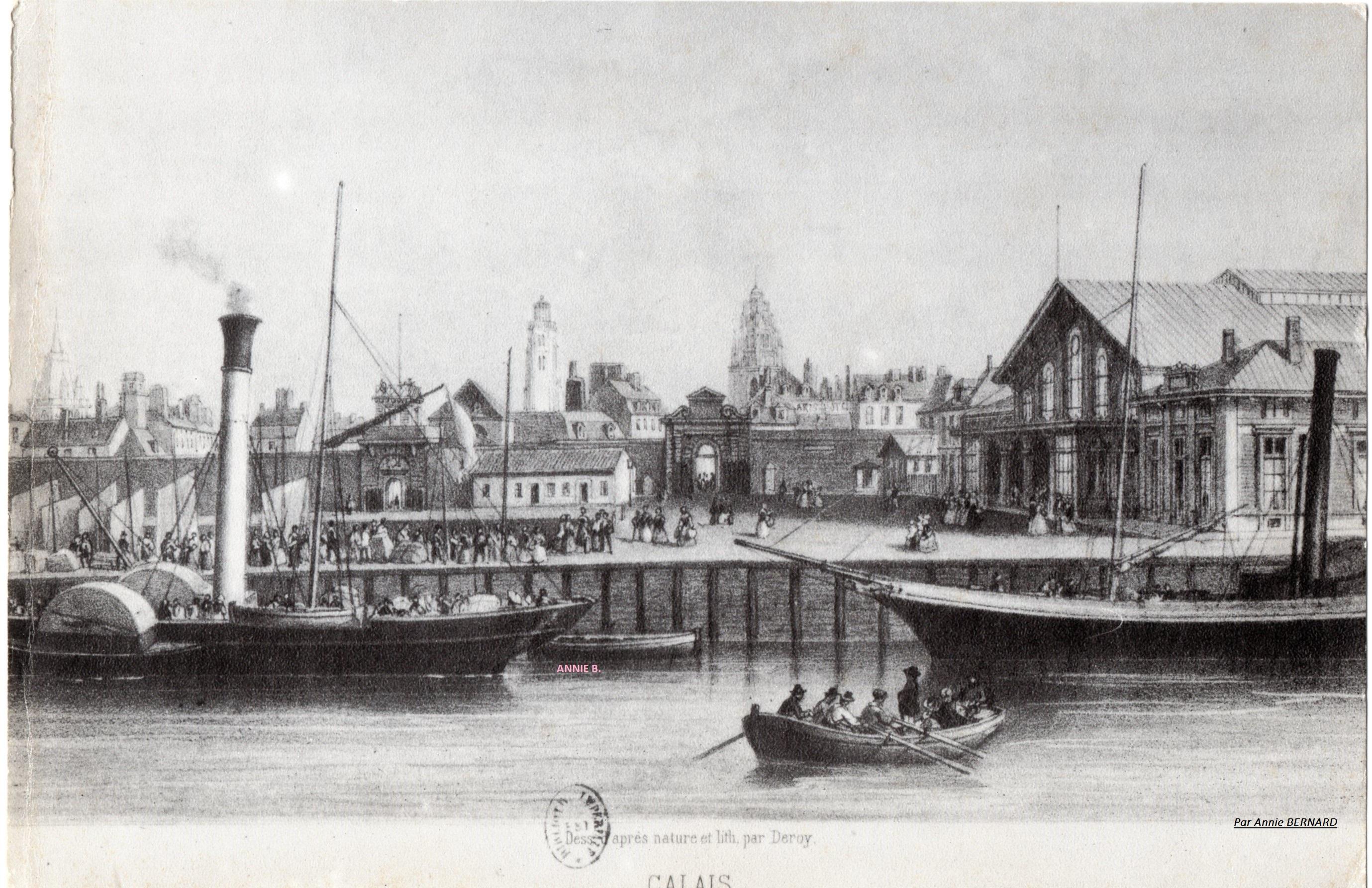 Rétro, les quais du Courgain maritime de Calais